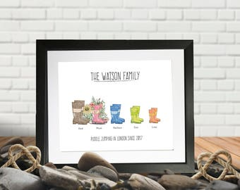 Wellies – Family Personalised Printed Picture Gift. Geordie Versions (plodging in the clarts), Dog Versions. Great for outdoor lovers