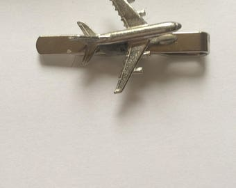 Airbus A380 C64 Plane Fine English Modern Pewter on a Tie Clip (slide)