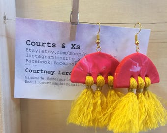 Semicircle polymerclay tassel earrings