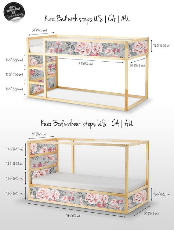 Lovely Decals For Kura Bed, Ikea, Vintage Floral Sticker Set, PACK OF 5, Furniture  Decals, Baby Girl, Kids, Colorful, Rose, Peel And Stick #4K