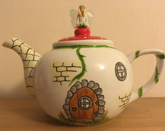 Fairy  House Teapot-Personalised Teapot-Fairy gift