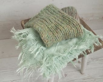 RTS knitted blanket and burlap layer set, newborn prop,