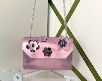 Metal leather mini bag