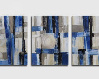 ABSTRACT PAINTING - Original Canvas Art Contemporary Abstract Modern Art  32 x72  inch abstract wall art blue structure large