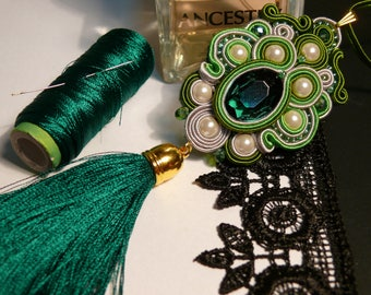 Soutache pendant, green necklace