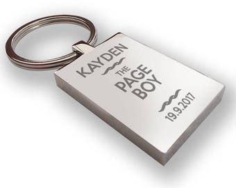 Personalised engraved PAGE BOY keyring wedding gift, thank you favour - RP5