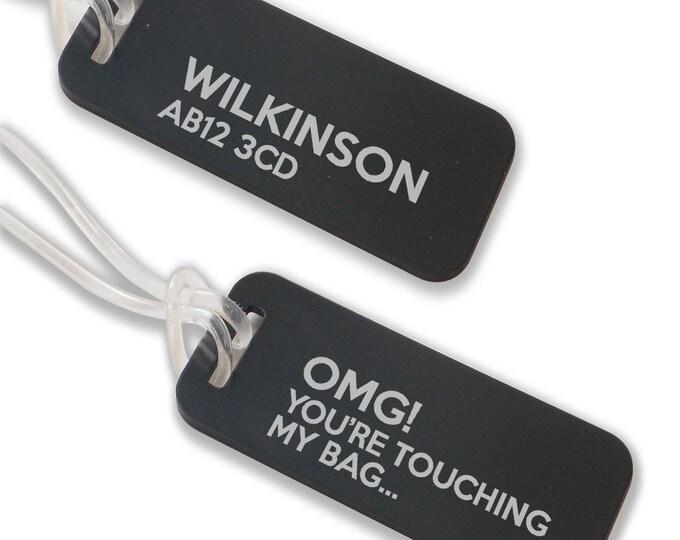 Personalised engraved suitcase holiday BAG luggage TAG, coloured aluminium custom luggage tag - ANB6-F1