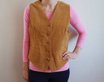 Vintage Yellow Leather Vest Genuine soft Camel Brown Suede Leather Vest Vintage Women's Waistcoat Mustard Yellow Button up