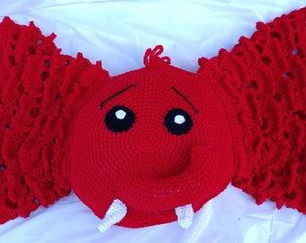 Large crochet elephant pillow