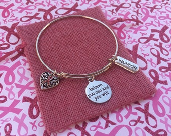 LIMITED EDITION: Breast Cancer Warrior Expandable Silver Bracelet Bangle With Charms