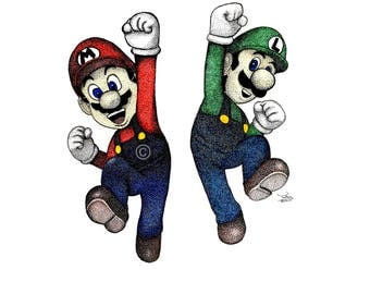 Super Mario Bros. A4 Print (hand drawn in pen)