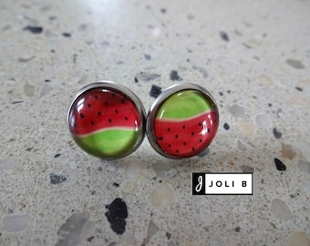 Earrings stainless steel - watermelon - stainless steel dangle earrings
