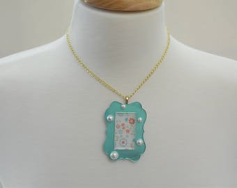 Aqua Frame Necklace with Glass Pearls