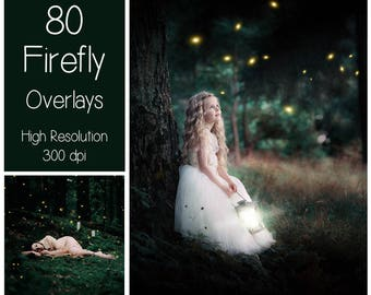 80 Firefly Overlays - Fairy Lights Overlays - Magic Overlays - Sparkle - Gold Firefly - Butterfly Overlays - Fairy Dust - Summer Bugs