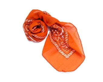 ON SALE - Lightweight Silk Bandana Scarf, Orange, Yellow, Green