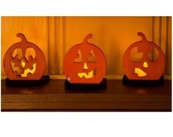 Set of 3 Pumpkin Candle Holder Halloween Candleholder Halloween Votive Holder Halloween Pumpkin Tea Light Holder Pumpkin Night Light