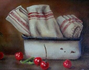 Cherries and Tea Towels 8x10 Original Canvas Painting