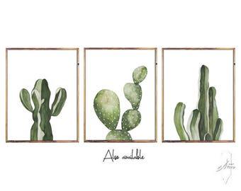 Set Prints, Cactus Print, Set of Prints, Set of 3 Prints ,Watercolor, Cactus, Set , Cactus Decor , Art ,Prints ,Art Prints , Cactus Decal
