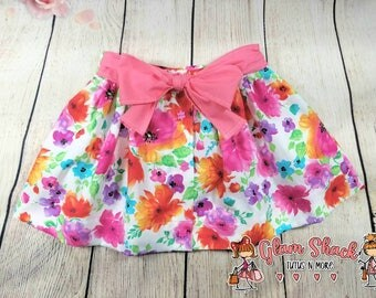 Floral infant skirt, baby gathered skirt, baby girl outfit, baby skirt, toddler skirt