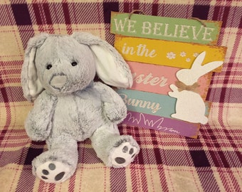 Grey Personalized Embroidered Bunny
