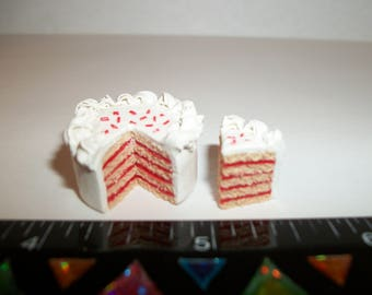 1:12 One Inch Scale Dollhouse Miniature Handcrafted July 4th Patriotic Cake ~ Doll Food Dessert