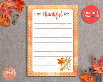 Thanksgiving Printable INSTANT DOWNLOAD |Thanksgiving Thankful Cards | I'm Thankful for Place Cards | Family Tradition | Give Thanks Cards