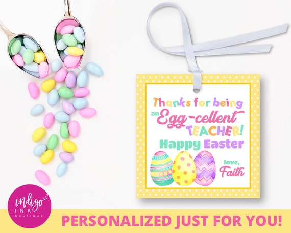 Personalized teacher easter tags easter gift tags customized il570xn negle Images