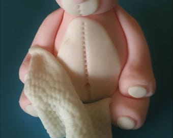 Teddy Bear with Blanket Cake Topper - in your CHOICE OF COLOR/S