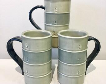 Tall green grey mug
