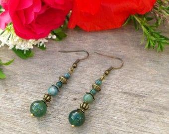 MOSS agate and Jasper bronze earrings