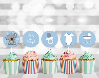 Baby Boy Shower Cupcake Toppers, baby shower cupcake, baby cupcake topper, cupcake toppers, cupcake decorations, printable toppers