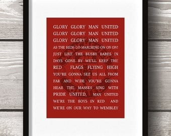 Glory Glory Man United Song - Manchester United Digital Wall Art - Team Football  - 8x10 Instant Download