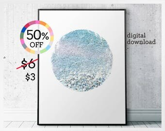 Summer photo art prints instant download - minimalist ocean wall art printable - download ocean photo - scandinavian art circles wall decor