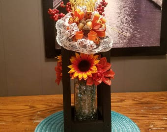 wood lantern great for outdoors or a nice center piece
