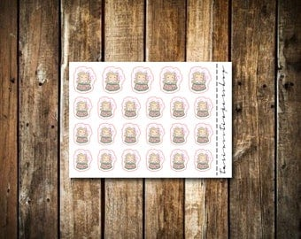 New Years / Celebrate - Cute Blonde Girl - Functional Character Stickers
