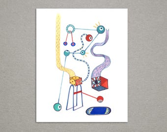Robot Monster Colorful Gouache Print