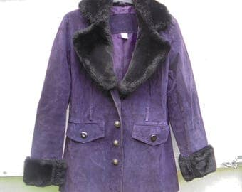 vintage / retro purple suede coat