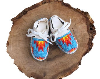 Baby Moccasins-Soft Sole Leather Shoes-Native American Art-Baby Shower Gift-Beaded Moccasins-Boy-Girl Moccasin - Turquoise