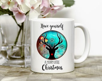 Merry Christmas Mug, Christmas Decor, Reindeer Mug, Merry Little Christmas