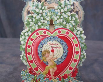 Valentine  Greetings Pop Up Card Made in Germany Vintage