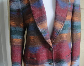 Vintage Casual Corner Wool Blend Southwestern Blanket Inspired 2 Button Shawl Collar Jacket Size 8