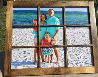 Rustic Window Picture frame, Country chic, Hand Crafted Window Styled Frame with 9 panes
