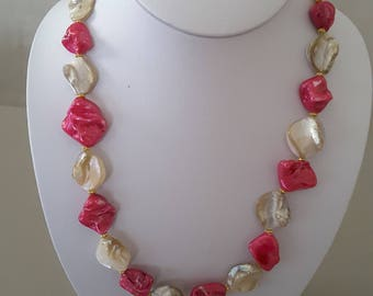 10.5 inch Pink and cream 3 piece necklace set.