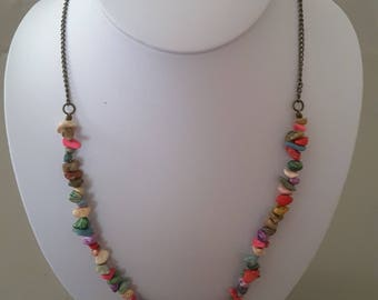Multicolored beads and chain necklace