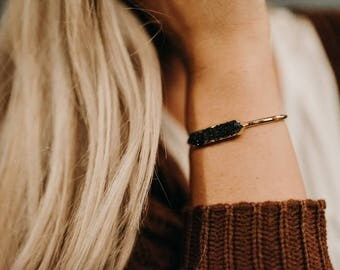 Black Druzy and Gold Bracelet - Gold Bangle Bracelet - Bohemian Jewelry- Bridesmaid Jewelry - Druzy Gemstone  - stacking bracelet