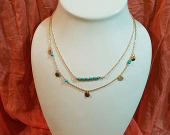 Turquoise & Gold Double Strand Necklace
