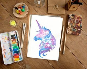 Silhouette Unicorn, original watercolor painting, watercolor Unicorn illustration, home decor, gift, 9 x 12, I'm a Unicorn