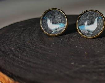 Stud earrings, cabochons, blue whale earrings, original illustration, resin 12mm