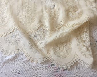 French Cafe Net Curtain Cream Vintage Lace Net Curtain Cottage Chic Kitchen Lace Curtain
