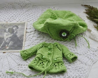 Blythe dress, Blythe clothes, pullip dress, pullip clothes, vintage dress, set of knitted clothes, blythe knitwear green